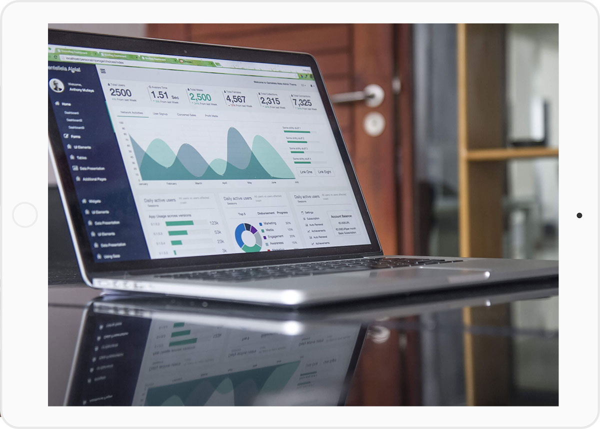 Data and figures on a laptop